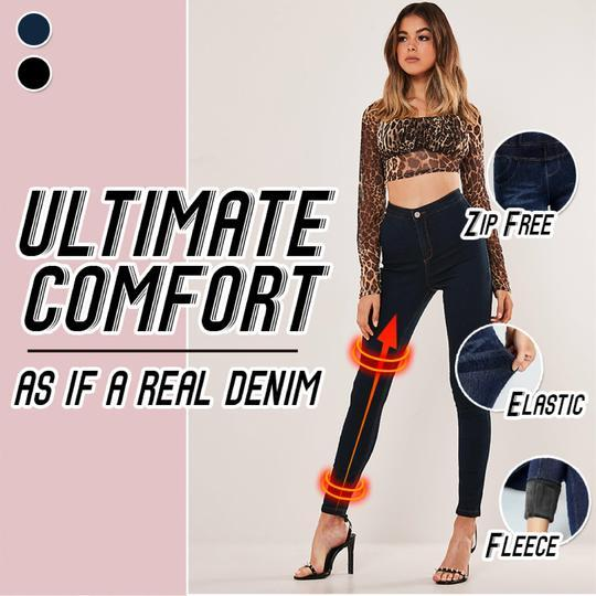 Thermal Fleece Denim Jeggings - The Bestmart