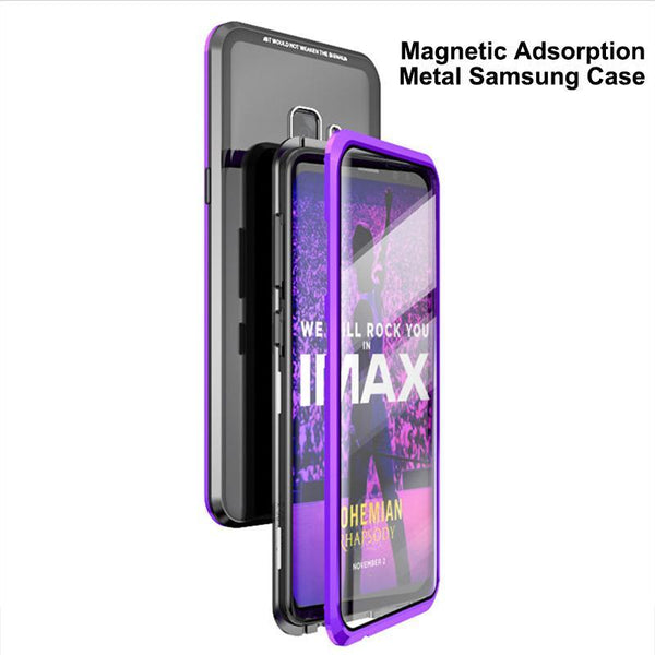 Magnetic Adsorption Transparent Tempered Glass Two side Glass Cover Phone Case For Samsung Note8