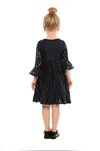 Arshiner Kids O-Neck Long Sleeve Pleated Lace Dress