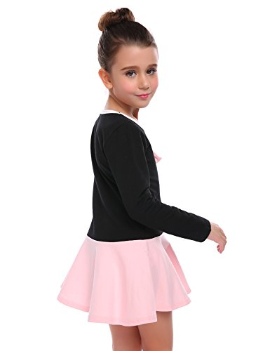 Arshiner Little Girls Long Sleeve Bow Knot Casual Skater Dress