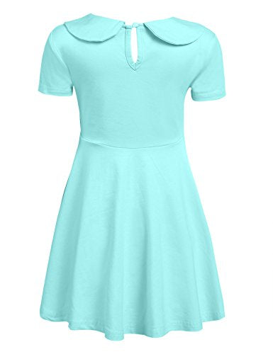 Arshiner Girls Long/Short Sleeve Doll Collar Dress Solid Color A Line Peter Pan Collar Cotton Dress
