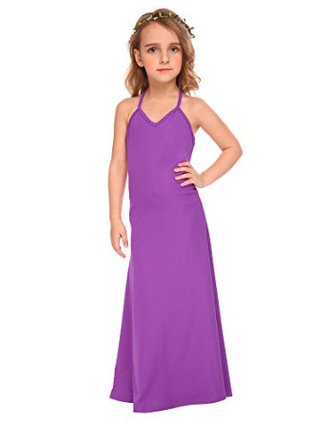 Arshiner Big Girls Spaghetti Straps V-Neck Halter Backless Maxi Summer Beach Dress