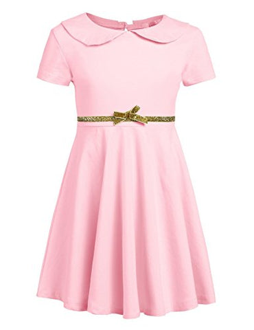 Arshiner Little Girls Short Sleeve Doll Collar Pleated A Line Dress Skater Dress