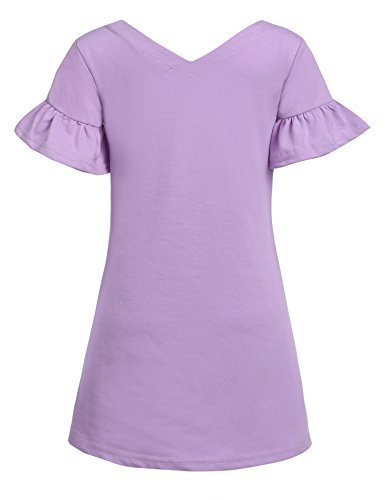 Arshiner Kids Girls Flare Sleeve O-Neck V Back Solid Color Cotton Dress