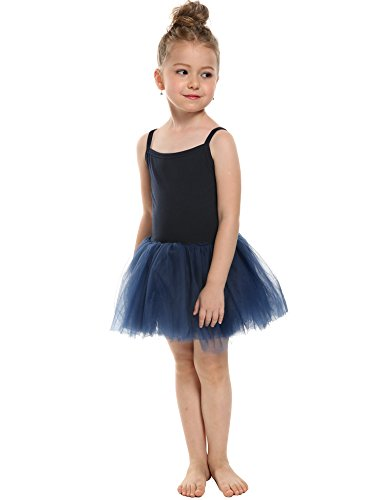 Arshiner Girls Solid Color Camisole Ruffle Tulle Mesh Tutu Dress Leotard