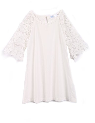 Arshiner Toddle Girls Hollow Lace Embroidery Half Sleeves Patchwork White Cotton Dress