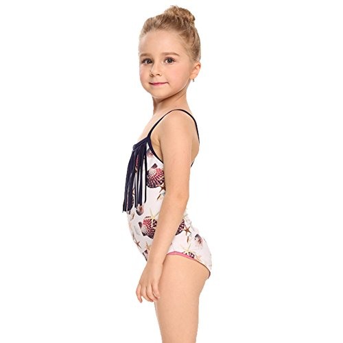 Arshiner Girls Fringe Rainbow Wave Strip One Piece Swimsuit