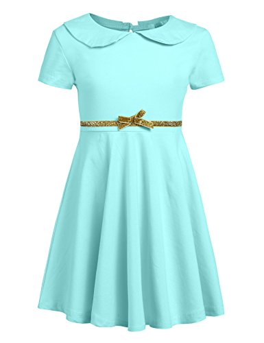 af94594b4fb Arshiner Girls Long Short Sleeve Doll Collar Dress Solid Color A Line Peter  Pan Collar