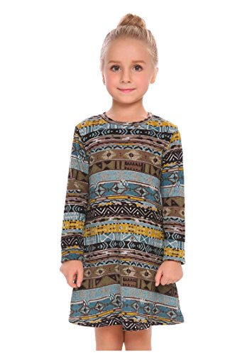 Arshiner Little Girls Long Sleeve Sundress Chevron Printed A-Line Skater Dress