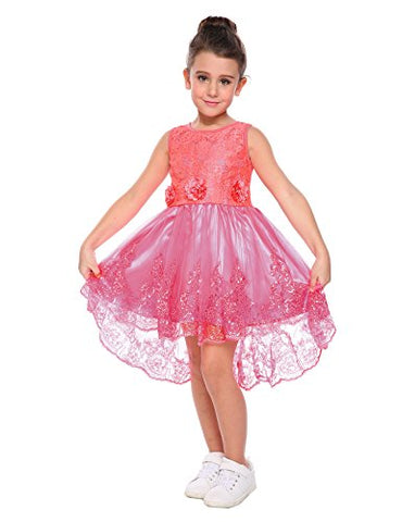 Arshiner Toddler Girls Solid A-Line Sleeveless Skater High Low Party Lace Dress