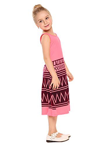 Arshiner Kids Girls O-Neck Sleeveless Long Sundress Boho Maxi Dress