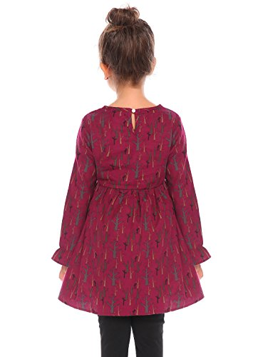 Arshiner Girls O-Neck A-Line Long Falbala Sleeves Print Skater Cotton Swing Bottoming Dress