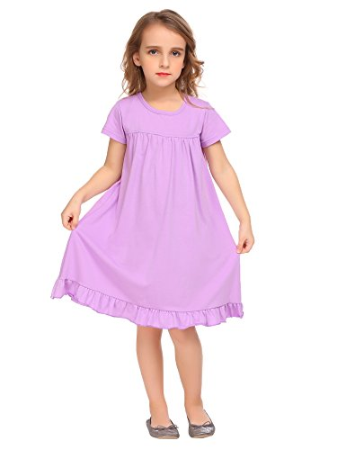 Arshiner Big Girls A-Line Short Sleeve Pleated Knee Length Summer Dress Nightdress