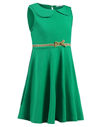 Arshiner Little Girls Sleeveless Doll Collar Pleated A Line Dress Skater Dress