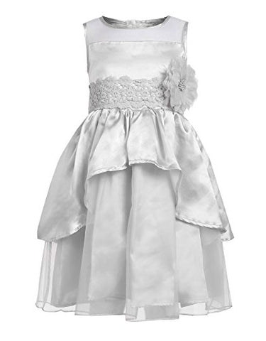 Arshiner Little Girls Round Neck Sleeveless Flower Decorated Tulle Ruffle Dress