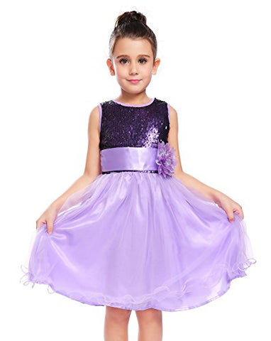 Arshiner Little Girls Sleeveless Sequin Ruffle Tulle Mesh Tea Length Wedding Party Dress