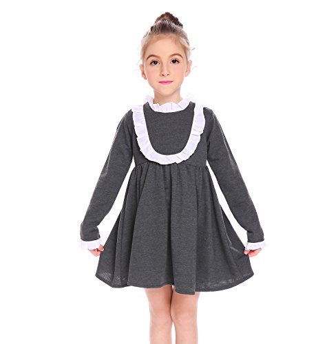 Arshiner Kids Girl Stand Neck Long Sleeve Cute Patchwork Ruffle A-Line Dress