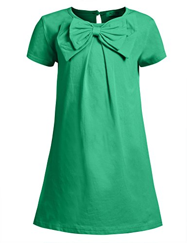 Arshiner Kids Girl O-Neck Short Sleeve Solid Button Bowknot Casual Dress