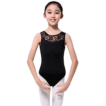 Gsha Girls Sleeveless Lace Ballet Leotard