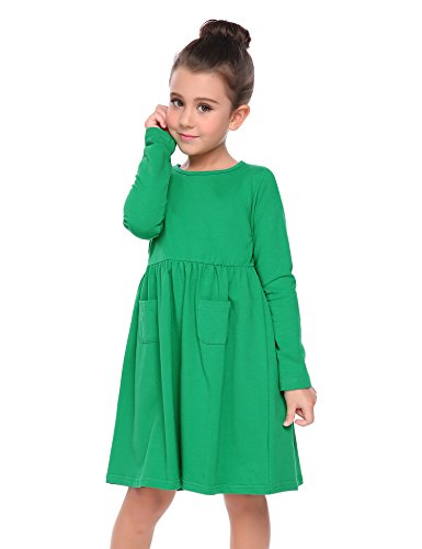 1c84012f165 Arshiner Little Girls Long Sleeve Solid Color Casual Skater Dress ...
