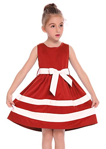 Arshiner Big Girls Solid Color O-Neck A-Line Sleeveless Skater Party Dress With Belt