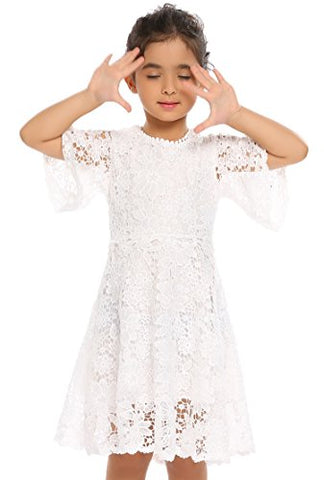Arshiner Flower Girls White Lace Vintage Wedding Party Princess Dress