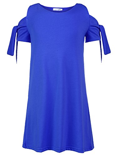 Arshiner Girls O-Neck Cold Shoulder Knotted Sleeve Solid Casual A-Line Dress