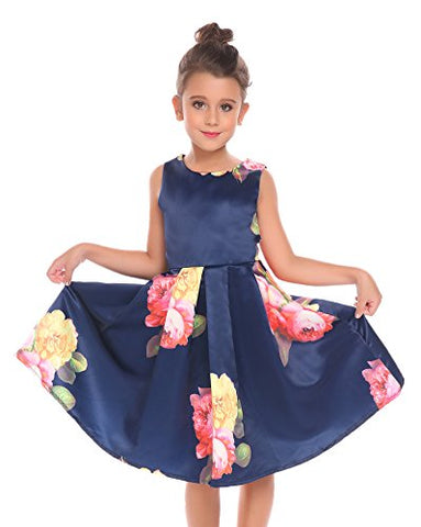 Arshiner Girls Sleeveless Vintage Floral Swing Party Dresses Summer Princess