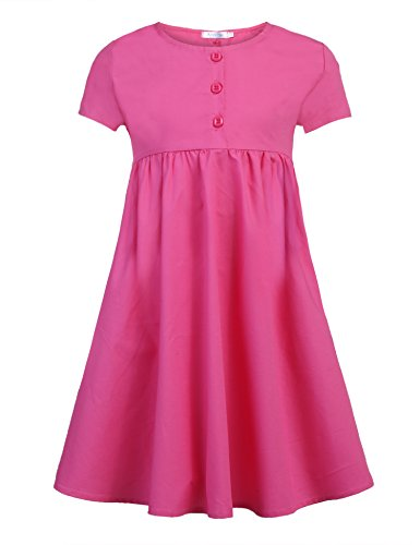 Arshiner Girl A-line O-Neck Short Sleeve High Waist Casual Solid Skater Shirt Dress