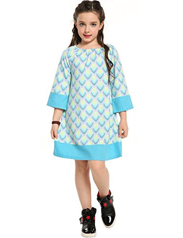 Arshiner Girls Long Sleeve Bohemian Peasant Dress