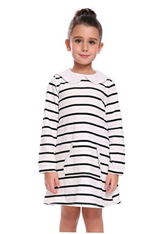 Arshiner Girls Cute Lovely White Black Striped Pocket Dress