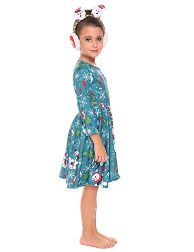 Arshiner Kids Girls Long Sleeve A-Line Dress Spring Skater Casual Dress