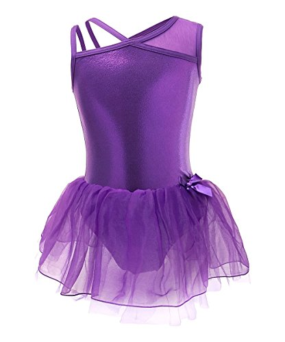 Arshiner One-Piece Wrap Skirted Leotard Single Shoulder Strap Ballet Dress