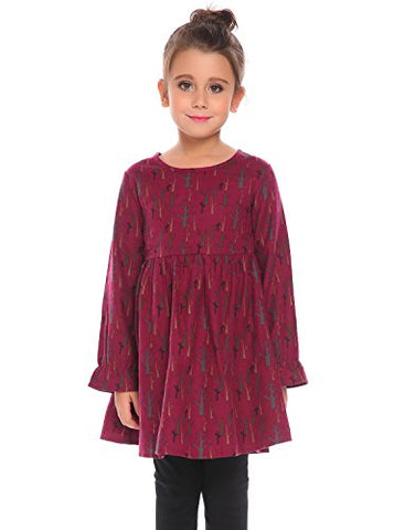 Arshiner Girls O-Neck A-Line Print Skater Cotton Swing Bottoming Dress