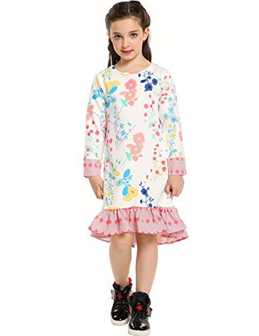 Arshiner Little Girls Sweet Long Sleeve Floral Print Tea Length Dress