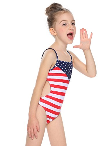 Arshiner Kids Girl's One Piece Swimsuit with Stars and Stripes