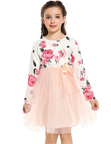 Arshiner Girls Long Sleeve Floral Print Tulle Mesh Tutu Dress Party Dress