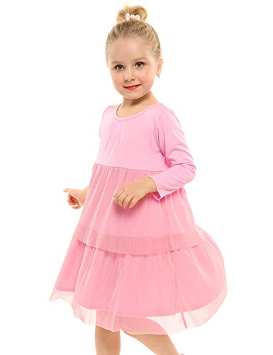 Arshiner Little Girls Long Sleeve Casual Ruffle Dress