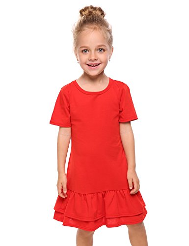 Arshiner Girls Cotton Long Sleeve A-Line Ruffle Hem Dress