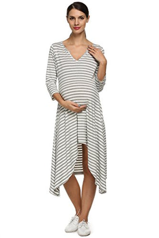Arshiner Women's Pregnancy Sleeveless Casual V-neck Loose Irregular Maternal Dress