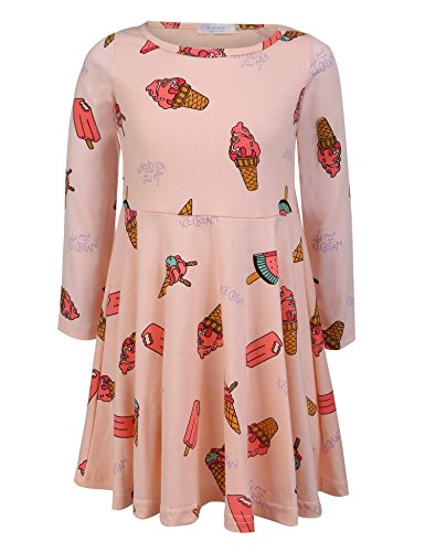 Arshiner Little Girls A Line Swing Dress Casual Style Rainbow Dots Heart Ice Cream Printed Spring Summer Dress