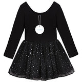 Arshiner Girls' Classic Long Sleeve Sequins Tutu Dress Leotard