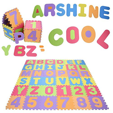 (US STOCK) Arshiner ABC Alphabet Number Interlocking Foam Puzzle Play Mat