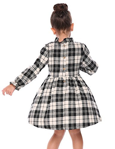 Arshiner Girls Long Sleeve Back Buttons Plaid A-Line Pleated Dress