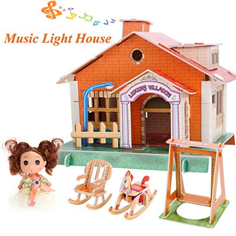 Arshiner Kids 3D Blocks Light Music House Set Jigsaw Puzzle Toy Kit