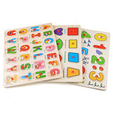 Arshiner 3-in-1 Wooden Peg Puzzles Alphabet/Number/Graph Puzzle Set Educational Learning Toys