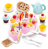 Arshiner Triple-Layer Light & Birthday Song Party Cake Desert Kids Pretend Play Food Toy Set