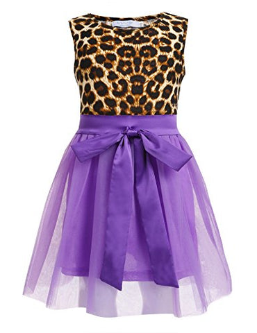 Arshiner Girls Sleeveless Leopard Tutu Dress