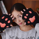 Arshiner Women Bear Plush Cat Paw Claw Glove Soft Winter Gloves