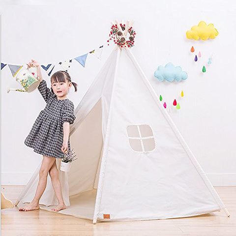 TeePee Tent 5 POLES HUGE 100% COTTON CANVAS TEEPEE